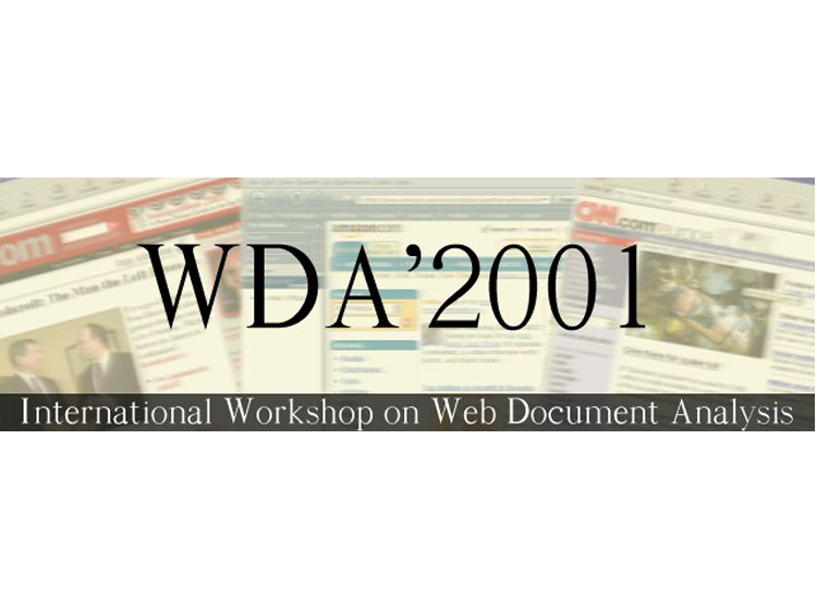Proceedings of the First International Workshop on Web Document Analysis (WDA2001)